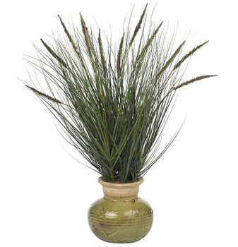 "27"" Grass with Mini Cattails Silk Plant"