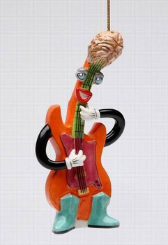 Rock & Roll Electric Bass Tree Ornaments by Ed Sussman, Set of 4
