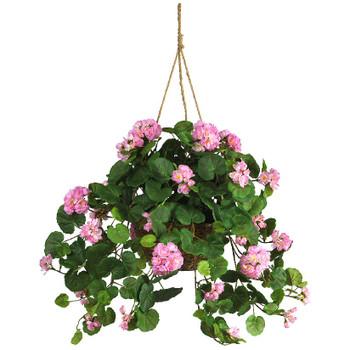 Pink Geranium Hanging Basket Silk Plant