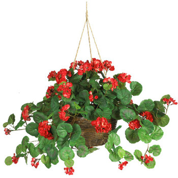 Red Geranium Hanging Basket Silk Plant