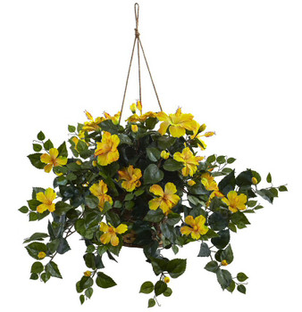 Yellow Hibiscus Hanging Basket Silk Plant