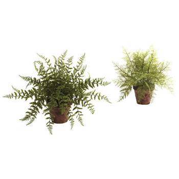 Fern Silk Plant with Decorative Planter, Set of 2