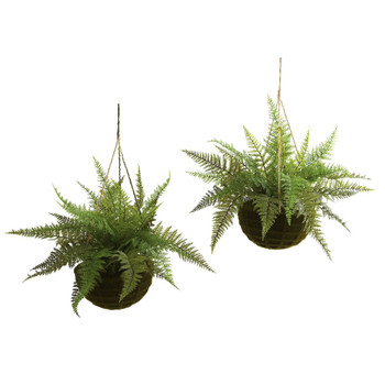 Leather Fern Silk Plant with Mossy Hanging Basket, Set of 2