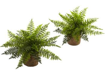 "15"" Ruffle Fern Bush Silk Plant with Burlap Base, Set of 2"