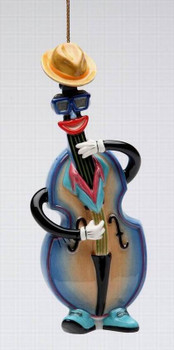 Blue and Jazz Bass Christmas Tree Ornaments by Ed Sussman, Set of 4