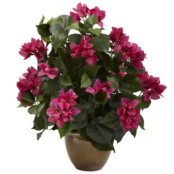 Bougainvillea Silk Plant with Ceramic Vase