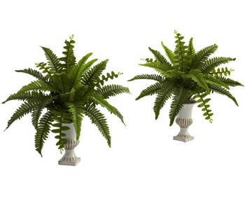 Silk Boston Fern Silk Plant with Urn, Set of 2