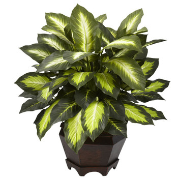 Triple Golden Dieffenbachia Silk Plant with Wood Vase