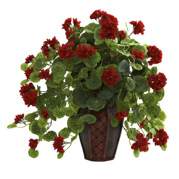 Geranium Silk Plant with Decorative Planter