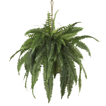 Large Boston Fern Silk Plant Hanging Basket