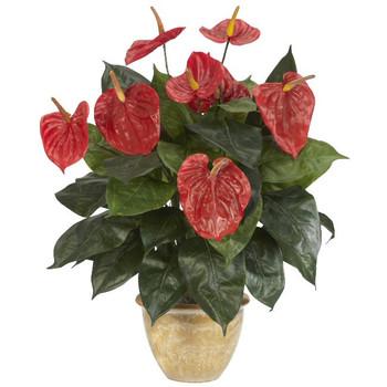 Anthurium with Ceramic Vase Silk Plant