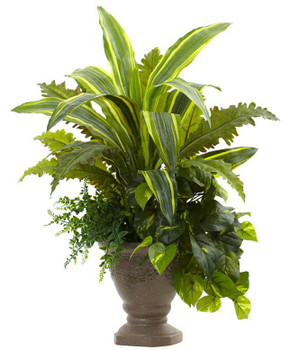 "25"" Mixed Yucca, Marginatum, Pothos & Bracken Silk Plant with Planter"