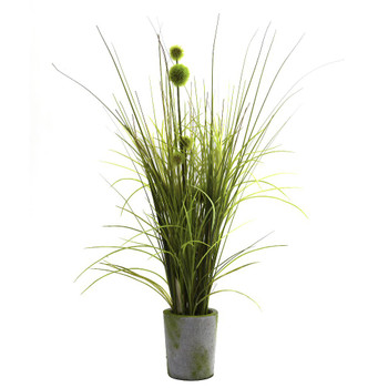 Grass & Dandelion Silk Plant with Cement Planter