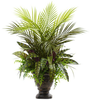 "27"" Mixed Areca Palm, Fern and Peacock Silk Plant with Planter"