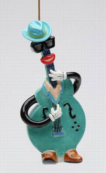 Blue & Jazz Electric Guitar Tree Ornaments by Ed Sussman, Set of 4
