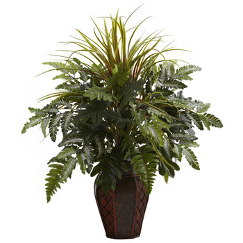 Mixed Grass & Fern Silk Plant with Decorative Planter