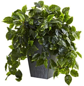 Hanging Pothos Silk Plant w/ Slate Planter UV Resistant Indoor Outdoor