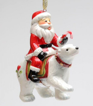 Santa Riding a Polar Bear Tree Ornaments by Laurie Furnell, Set of 4