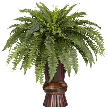 Silk Boston Fern with Bamboo Vase