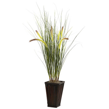 Grass with Cattails Silk Plant with Bamboo Planter