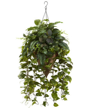 Vining Mixed Greens with Cone Hanging Basket Silk Plant