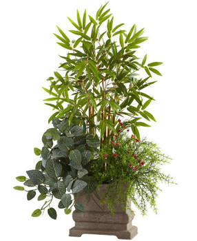 "38"" Mixed Mini Bamboo, Fittonia and Springeri Silk Plant with Planter"
