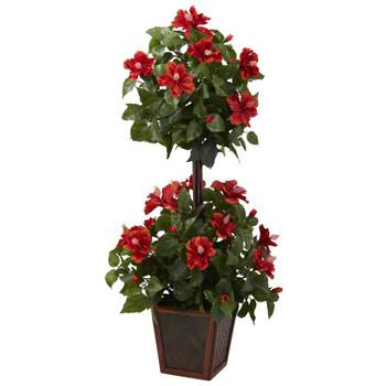 "39"" Hibiscus Topiary Silk Plant"