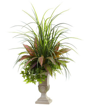3' Mixed Grass, Dracena, Sage Ivy and Fern Silk Plant with Planter