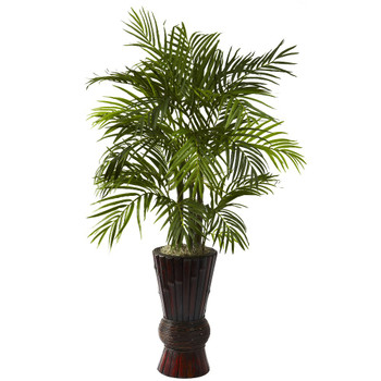 4' Areca Silk Plant with Bamboo Planter