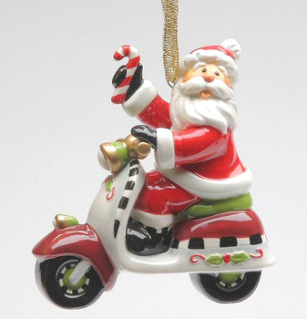 Santa Riding Scooter Tree Ornaments by Laurie Furnell, Set of 4