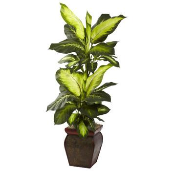 Golden Dieffenbachia Silk Plant with Decorative Planter