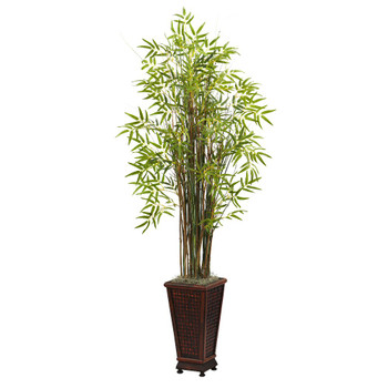 5.5' Grass Bamboo Silk Plant with Decorative Planter