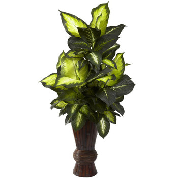 Golden Dieffenbachia Silk Plant with Bamboo Planter