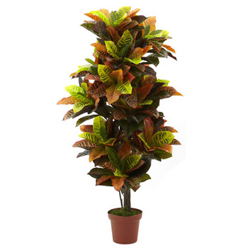 "56"" Real Touch Croton Silk Plant"