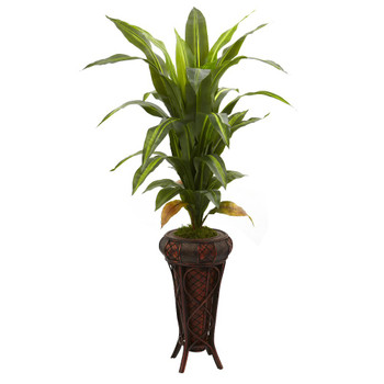 "57"" Real Touch Dracaena Silk Plant with Stand"