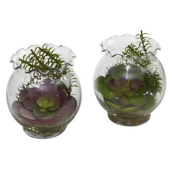 Succulent Silk Plant with Fluted Vase, Set of 2