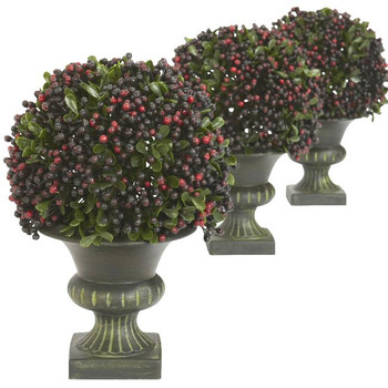 Pepper Berry Ball Topiary, Set of 3