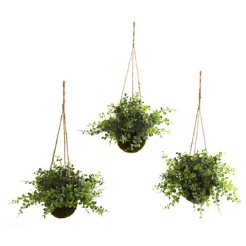 Eucalyptus, Maiden Hair & Berry Hanging Basket Silk Plants, Set of 3