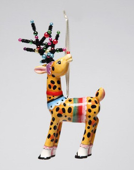 Leopard Print Deer Christmas Tree Ornaments by Babs, Set of 4
