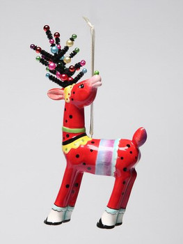 Red Deer Christmas Tree Ornaments by Babs, Set of 4