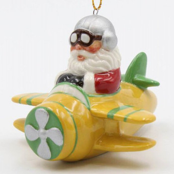 Santa Flying in a Yellow Airplane Christmas Tree Ornaments, Set of 4