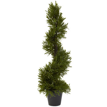 "30"" Rosemary Spiral Silk Tree Indoor Outdoor"
