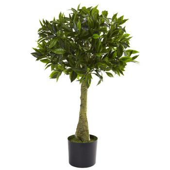 3' Silk Bay Leaf Topiary UV Resistant Indoor Outdoor
