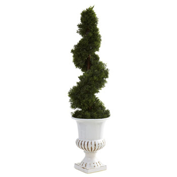 Cedar Spiral Silk Tree with Indoor Outdoor Urn