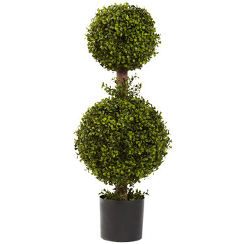 "35"" Silk Double Boxwood Topiary"