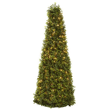 "39"" Boxwood Cone Silk Tree with Lights"