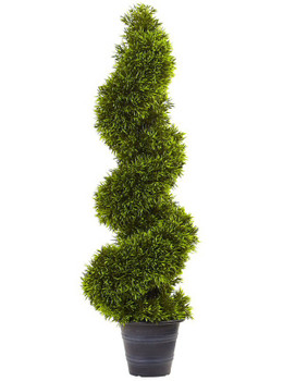 3' Grass Spiral Topiary Silk Tree with Deco Planter
