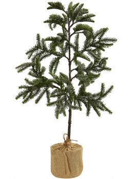 3' Iced Pine Silk Tree with Burlap Base