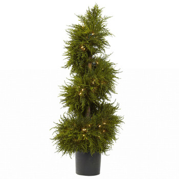 "43"" Silk Cedar Spiral Topiary with Lights"