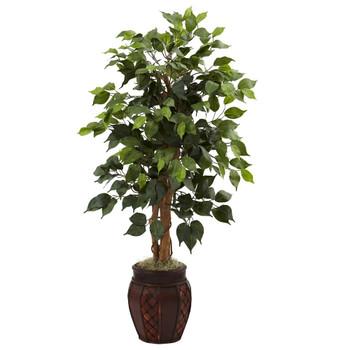"44"" Silk Ficus Tree with Decorative Planter"